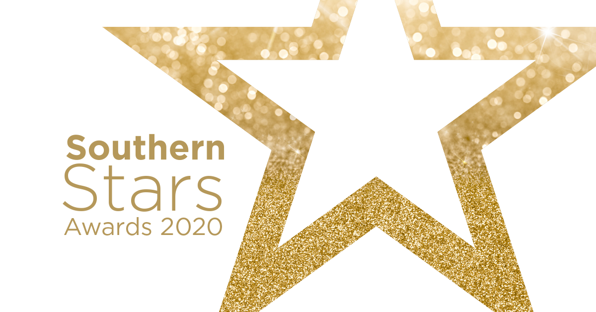 A golden glittery star with the caption 'Southern Stars Awards 2020' on the left.