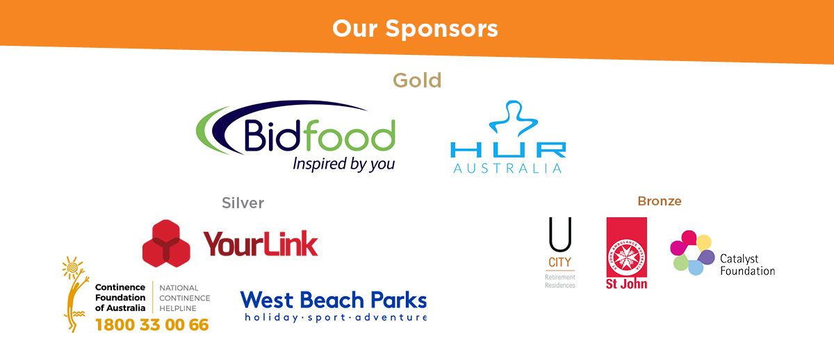 Text above image of group photo of all sponsors,'Thank you to our sponsors'. From top: Gold: Bidfood, HUR Australia; Silver: YourLink; Bronze, U City and St John